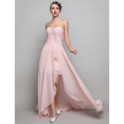 Formal Evening Prom Military Ball Dress Pearl Pink Plus Sizes Petite Sheath Column Sweetheart Floor Length Chiffon