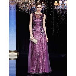 Formal Evening Dress Lilac Sheath Column Jewel Floor Length Charmeuse Sequined