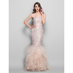 Formal Evening Prom Military Ball Dress Champagne Plus Sizes Petite Trumpet Mermaid Sweetheart Floor LengthLace Tulle