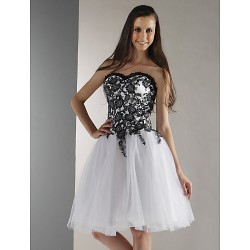 Cocktail Party Prom Graduation Holiday Sweet 16 Dress White Plus Sizes Petite Ball Gown Strapless Sweetheart Knee Length