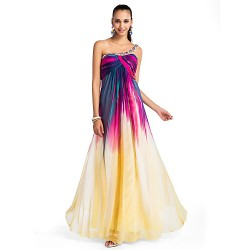 Formal Evening Prom Military Ball Dress Print Plus Sizes Petite A Line Princess One Shoulder Floor Length Chiffon
