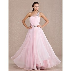 Formal Evening Prom Military Ball Dress Candy Pink Plus Sizes Petite A Line One Shoulder Floor Length Chiffon Stretch Satin