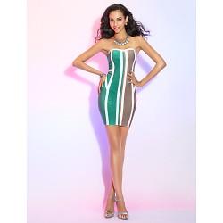 Cocktail Party Dress - Multi-color Petite Sheath/Column Strapless Short/Mini Rayon