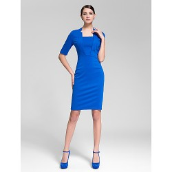 Cocktail Party Dress Royal Blue Sheath Column Square Knee Length Polyester
