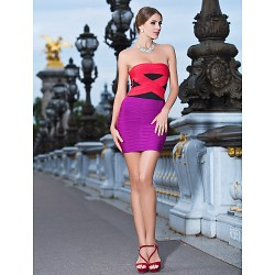Cocktail Party Holiday Dress Multi Color Petite Sheath Column Strapless Short Mini Rayon