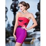 Cocktail Party / Holiday Dress - Multi-color Petite Sheath/Column Strapless Short/Mini Rayon Celebrity Dresses