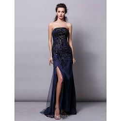 Formal Evening Dress Dark Navy Plus Sizes Petite Sheath Column Strapless Sweep Brush Train Tulle Sequined