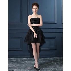 Cocktail Party Dress Black Plus Sizes Princess Strapless Asymmetrical Organza Satin