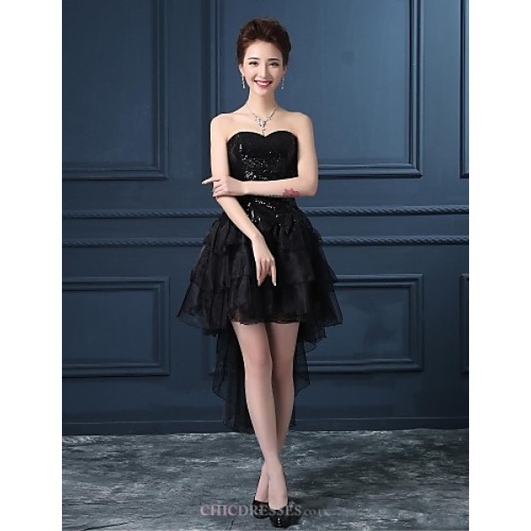 Cocktail Party Dress - Black Plus Sizes Princess Strapless Asymmetrical Organza / Satin Celebrity Dresses
