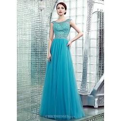 Formal Evening Dress - Pool Plus Sizes / Petite Sheath/Column Bateau Floor-length Chiffon