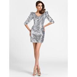 Cocktail Party Dress - Silver Plus Sizes / Petite Sheath/Column V-neck Short/Mini Sequined