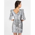 Cocktail Party Dress - Silver Plus Sizes / Petite Sheath/Column V-neck Short/Mini Sequined Special Occasion Dresses