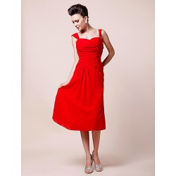 A Line Plus Sizes Petite Mother Of The Bride Dress Ruby Tea Length Sleeveless Chiffon