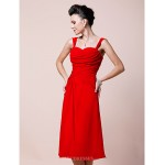 A-line Plus Sizes / Petite Mother of the Bride Dress - Ruby Tea-length Sleeveless Chiffon Mother Of The Bride Dresses