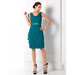 Cocktail Party Prom Holiday Dress Jade Plus Sizes Petite Sheath Column Cowl Knee Length Georgette