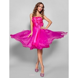 Cocktail Party Prom Sweet 16 Dress Fuchsia Plus Sizes Petite A Line Princess Strapless Sweetheart Knee LengthOrganza
