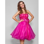 Cocktail Party / Prom / Sweet 16 Dress - Fuchsia Plus Sizes / Petite A-line / Princess Strapless / Sweetheart Knee-lengthOrganza / Special Occasion Dresses