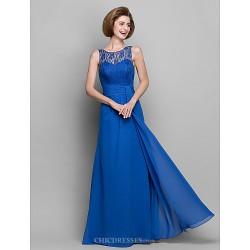 Sheath Column Mother Of The Bride Dress Royal Blue Floor Length Sleeveless Chiffon