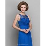 Sheath/Column Mother of the Bride Dress - Royal Blue Floor-length Sleeveless Chiffon Mother Of The Bride Dresses