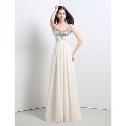 Formal Evening Dress Champagne Petite A Line Straps Floor Length Chiffon Sequined