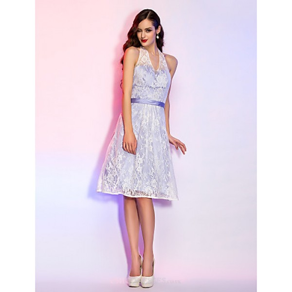 Cocktail Party / Homecoming / Holiday / Graduation Dress - Lavender Plus Sizes / Petite A-line Halter Knee-length Lace Special Occasion Dresses