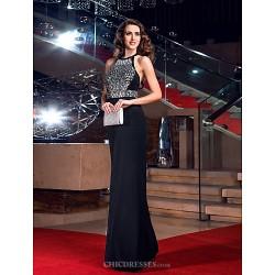 Formal Evening / Prom / Military Ball Dress - Black Plus Sizes / Petite Sheath/Column Jewel Floor-length Jersey