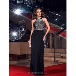 TS Couture Formal Evening / Prom / Military Ball Dress - Black Plus Sizes / Petite Sheath/Column Jewel Floor-length Jersey Special Occasion Dresses