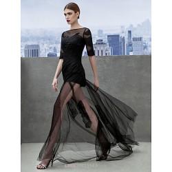Formal Evening Dress Black A Line Bateau Court Train Tulle