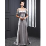 Formal Evening Dress - Silver A-line Jewel Sweep/Brush Train Satin Special Occasion Dresses