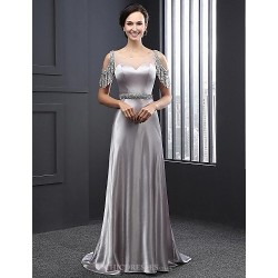 Formal Evening Dress - Silver A-line Jewel Sweep/Brush Train Satin