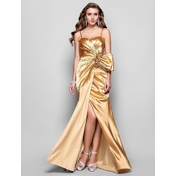 Formal Evening Prom Military Ball Dress Gold Plus Sizes Petite A Line Princess Sweetheart Spaghetti Straps Floor Length