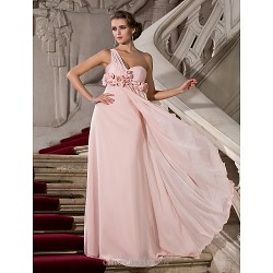 Formal Evening Prom Military Ball Dress Pearl Pink Plus Sizes Petite Sheath Column One Shoulder Sweetheart Floor Length Chiffon