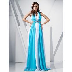 Prom Military Ball Formal Evening Dress Multi Color Plus Sizes Petite Sheath Column V Neck Sweep Brush Train Chiffon