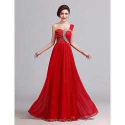 Formal Evening Dress Ruby A Line One Shoulder Floor Length Chiffon