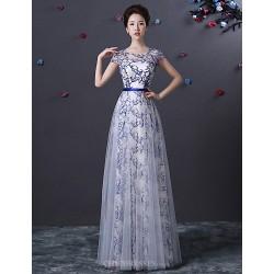 Formal Evening Dress - Pool A-line Jewel Floor-length Tulle