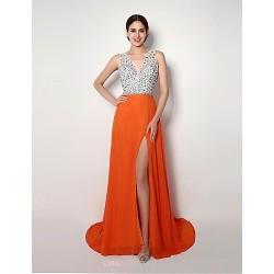 Formal Evening Dress - Orange A-line / Sheath/Column Straps Sweep/Brush Train Chiffon