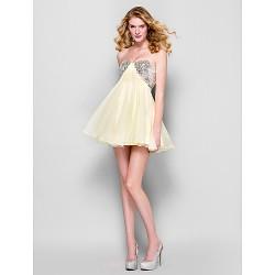 Cocktail Party Dress - Daffodil Plus Sizes / Petite A-line Strapless Short/Mini Chiffon