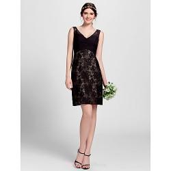 Knee-length Lace Bridesmaid Dress - Black Plus Sizes / Petite A-line V-neck