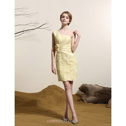 Cocktail Party Dress - Daffodil Plus Sizes Sheath/Column One Shoulder Short/Mini Satin