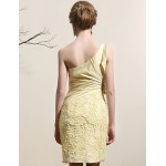 Cocktail Party Dress - Daffodil Plus Sizes Sheath/Column One Shoulder Short/Mini Satin Special Occasion Dresses