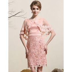 Cocktail Party Dress Pearl Pink Plus Sizes Sheath Column Jewel Short Mini Satin