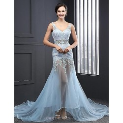 Formal Evening Dress - Sky Blue A-line V-neck Court Train Organza