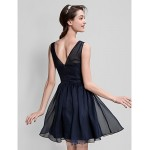 A-line Short/Mini Flower Girl Dress - Chiffon Sleeveless Special Occasion Dresses