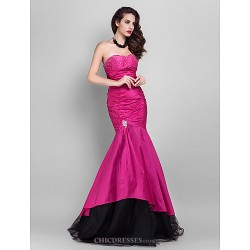 Prom / Military Ball / Formal Evening Dress - Fuchsia Plus Sizes / Petite Trumpet/Mermaid Strapless / Sweetheart Floor-lengthTulle /