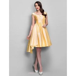 Cocktail Party / Holiday Dress - Daffodil Plus Sizes / Petite A-line Scoop Knee-length Taffeta