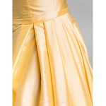 Cocktail Party / Holiday Dress - Daffodil Plus Sizes / Petite A-line Scoop Knee-length Taffeta Special Occasion Dresses