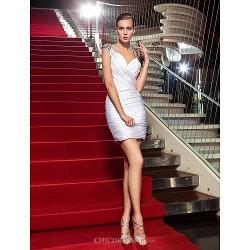 Cocktail Party / Holiday Dress - White Plus Sizes / Petite Sheath/Column V-neck Short/Mini Jersey