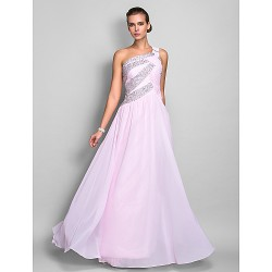 Formal Evening / Prom / Military Ball Dress - Blushing Pink Plus Sizes / Petite Sheath/Column One Shoulder Floor-length Chiffon