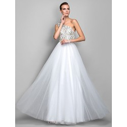 Formal Evening Prom Military Ball Dress Ivory Plus Sizes Petite A Line Princess One Shoulder Floor Length Tulle