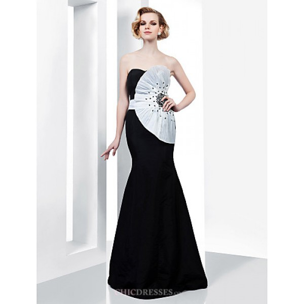 Formal Evening / Military Ball Dress - Black Plus Sizes / Petite Trumpet/Mermaid Strapless / Sweetheart Floor-length Taffeta Special Occasion Dresses